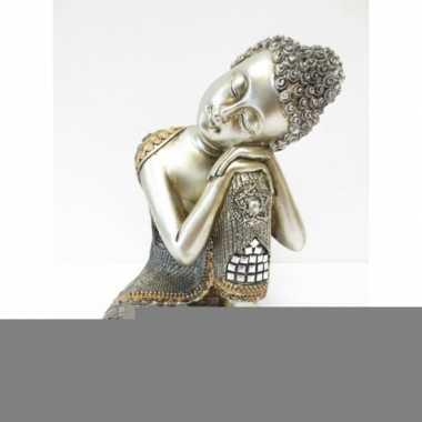 Decoratie boeddha beeldje zilver 28 cm