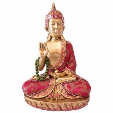 Decoratie boeddha met ketting thais goud/rood 22 cm