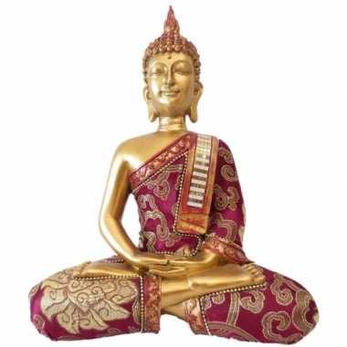 Decoratie boeddha thais goud/rood 25 cm