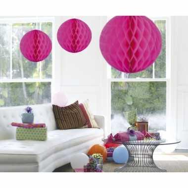 Decoratie bol fuchsia roze 50 cm
