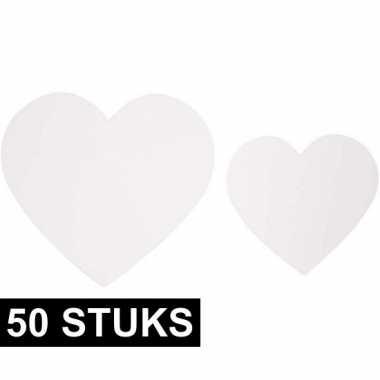 Decoratie bruiloft hartjes van karton 50x