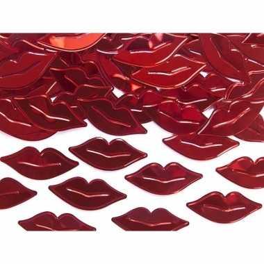 Decoratie confetti rode lippen van plastic 30 gram