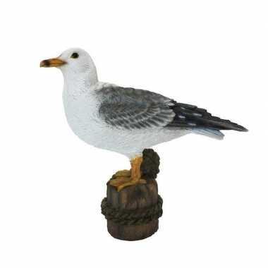 Decoratie dieren beeld meeuw vogel wit 21 cm