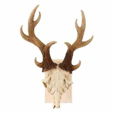 Decoratie dierenkop herten schedel met gewei 23 cm