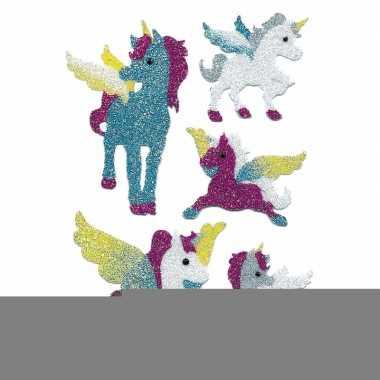 Decoratie glitterende eenhoorn stickers