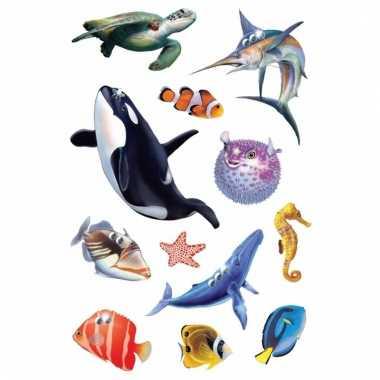 Decoratie glitterende oceaan diertjes stickers