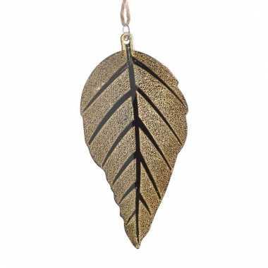 Decoratie hangers gouden bladeren 10 cm