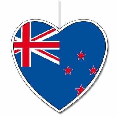 Decoratie hart nieuw zeeland 14 cm