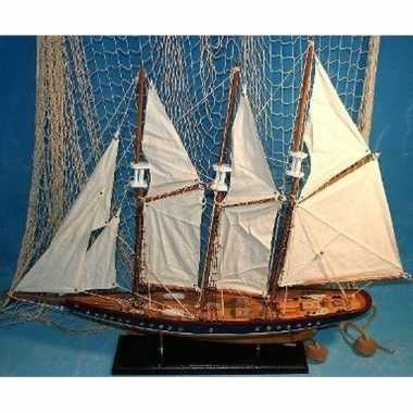 Decoratie houten model driemaster zeilschip 64 cm