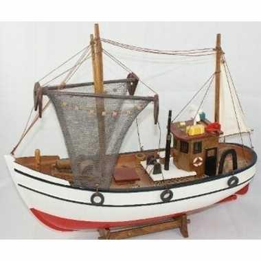 Decoratie houten model kotter/zeilboot 39 cm