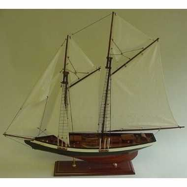 Decoratie houten model tweemaster zeilschip 74 cm