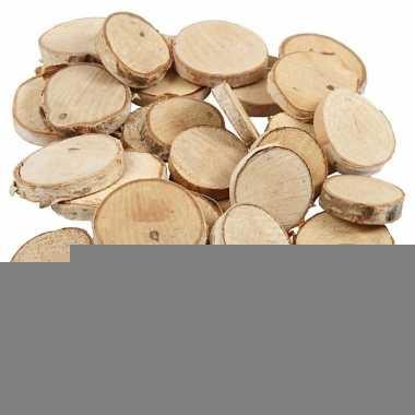 Decoratie houten schijfjes 140 stuks