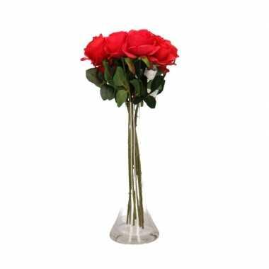 Decoratie kunstbloemen 10 rode rozen met vaas