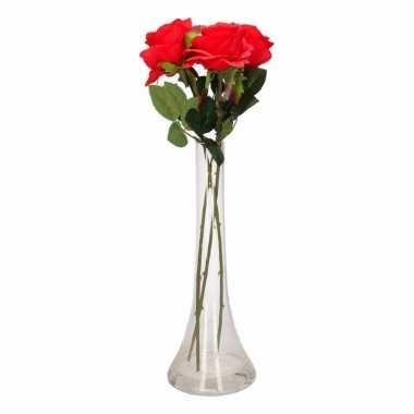 Decoratie kunstbloemen 3 rode rozen met vaas