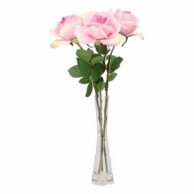 Decoratie kunstbloemen 3 roze rozen met vaas 37 trend