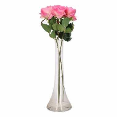 Decoratie kunstbloemen 3 roze rozen met vaas
