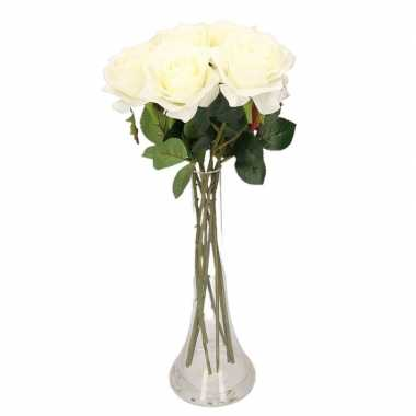 Decoratie kunstbloemen 8 witte rozen met vaas