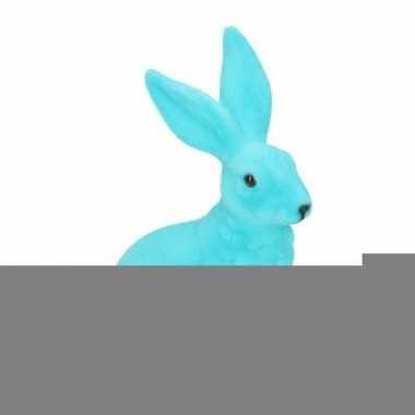 Decoratie paashazen blauw 23 cm