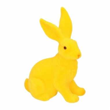 Decoratie paashazen geel 23 cm
