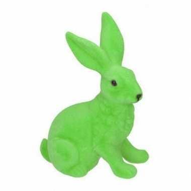 Decoratie paashazen groen 23 cm