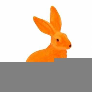 Decoratie paashazen oranje 23 cm