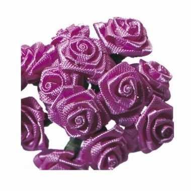 Decoratie rozen donker roze 12 cm