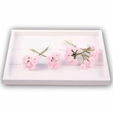Decoratie rozen roze 12 cm