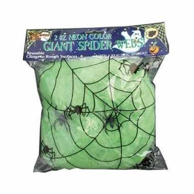 Decoratie spinnenweb groen 50 gram