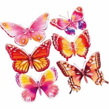 Decoratie stickers roze/oranje vlinders 3d 6 stuks