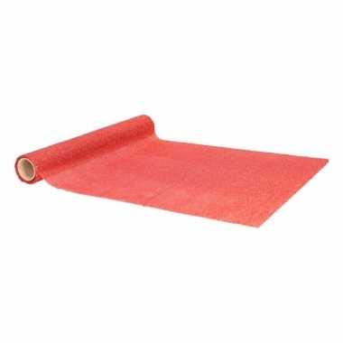 Decoratie stof met rode glitters