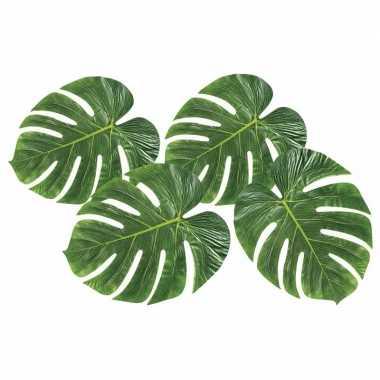 Decoratie tropische bladeren 4 stuks