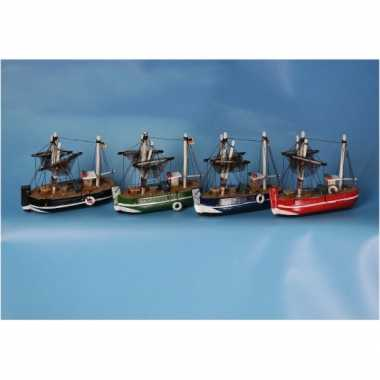 Decoratie vissersboot groen 14 cm