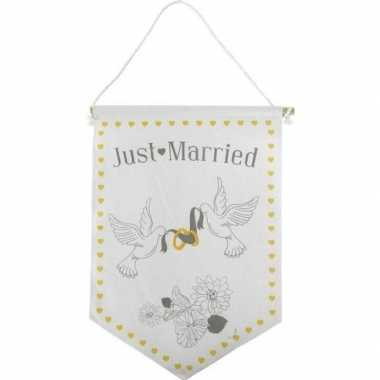 Decoratie vlaggetje/vaantje just married