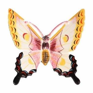 Decoratie vlinder wit/geel 11 cm kunststof