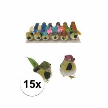 Decoratie vogeltje 15 stuks
