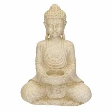 Decoratie waxine houder beeld boeddha 27 cm