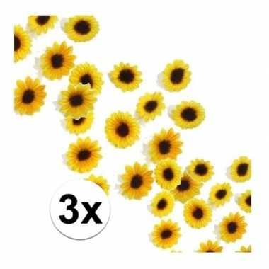 Decoratie zonnebloemetjes pakket van 3 zakjes