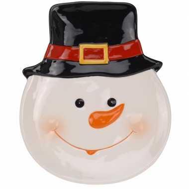 Decoratiebord sneeuwpop 24 cm