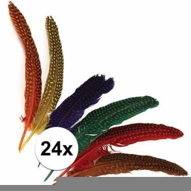 Decoratieve veren met stippen 24 stuks