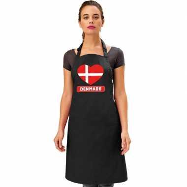Denemarken hart vlag barbecueschort/ keukenschort zwart