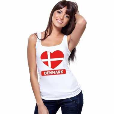 Denemarken hart vlag singlet shirt/ tanktop wit dames