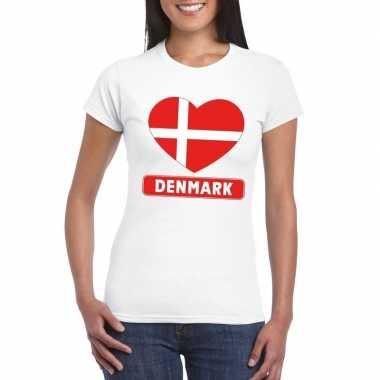 Denemarken hart vlag t-shirt wit dames