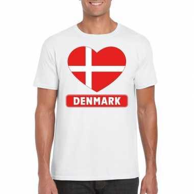 Denemarken hart vlag t-shirt wit heren