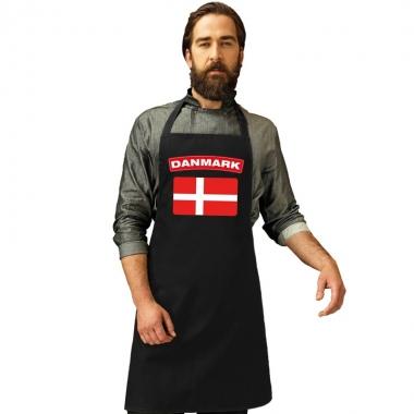 Denemarken vlag barbecueschort/ keukenschort zwart volwassenen