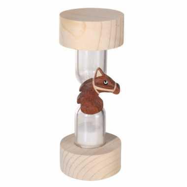 Denkspel houten zandloper paard 1 minuut