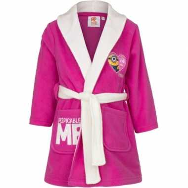 Despicable me kinder badjas donkerblauw minions roze