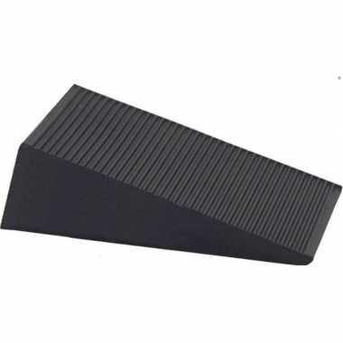 Deurstopper / deurwig rubber zwart 16 mm
