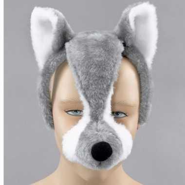 Dieren feestmaskers wolf met geluid