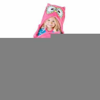 Dieren fleece cape roze uil 100 x 130 cm