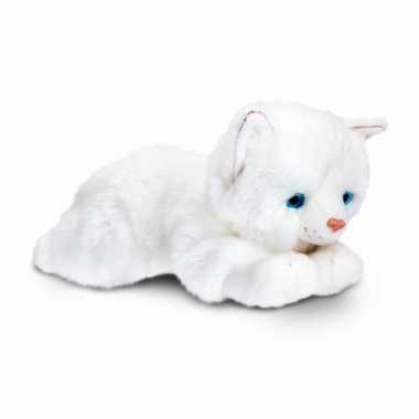 Dieren knuffel witte kater 35 cm